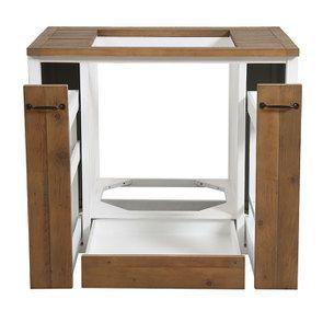 Meuble bas de cuisine pour four et plaque en bois recyclé blanc - Rivages - Visuel n°10