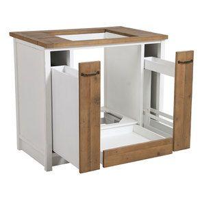 Meuble bas de cuisine pour four et plaque en bois recyclé blanc - Rivages - Visuel n°11