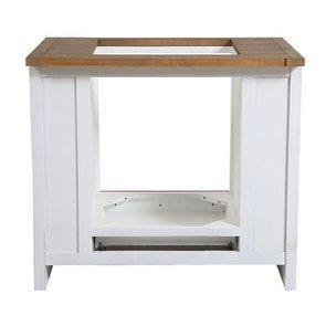 Meuble bas de cuisine pour four et plaque en bois recyclé blanc - Rivages - Visuel n°15