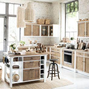 Meuble de cuisine bas 2 portes 2 tiroirs en bois recyclé blanc - Rivages - Visuel n°6