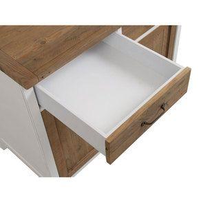 Meuble de cuisine bas 2 portes 2 tiroirs en bois recyclé blanc - Rivages - Visuel n°18