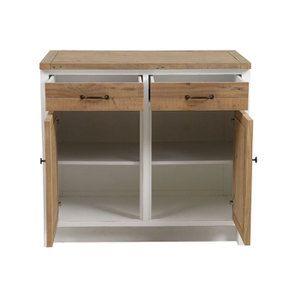 Meuble de cuisine bas 2 portes 2 tiroirs en bois recyclé blanc - Rivages - Visuel n°7