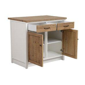 Meuble de cuisine bas 2 portes 2 tiroirs en bois recyclé blanc - Rivages - Visuel n°8