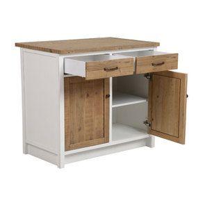 Meuble de cuisine bas 2 portes 2 tiroirs en bois recyclé blanc - Rivages - Visuel n°9