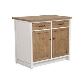 Meuble de cuisine bas 2 portes 2 tiroirs en bois recyclé blanc - Rivages - Visuel n°10