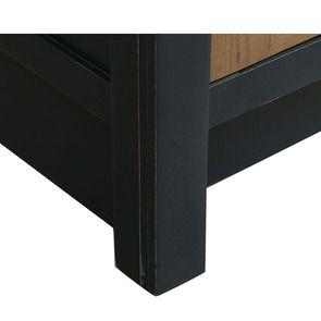 Meuble de cuisine bas 2 portes 2 tiroirs en bois recyclé bleu navy - Rivages