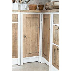 Meuble de cuisine bas d'angle en bois recyclé blanc - Rivages - Visuel n°3
