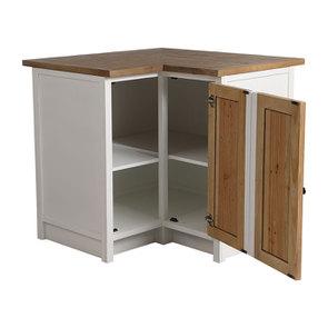 Meuble de cuisine bas d'angle en bois recyclé blanc - Rivages - Visuel n°4
