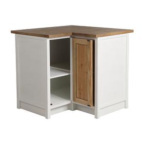 Meuble de cuisine bas d'angle en bois recyclé blanc - Rivages - Visuel n°5