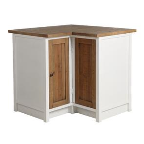 Meuble de cuisine bas d'angle en bois recyclé blanc - Rivages