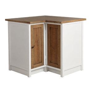 Meuble de cuisine bas d'angle en bois recyclé blanc - Rivages - Visuel n°1