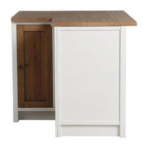 Meuble de cuisine bas d'angle en bois recyclé blanc - Rivages - Visuel n°6