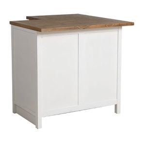Meuble de cuisine bas d'angle en bois recyclé blanc - Rivages - Visuel n°7