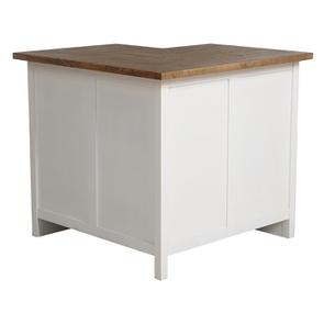 Meuble de cuisine bas d'angle en bois recyclé blanc - Rivages - Visuel n°8