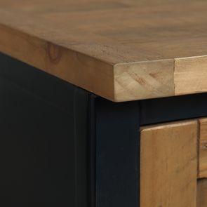Meuble de cuisine bas d'angle en bois recyclé bleu navy - Rivages - Visuel n°11