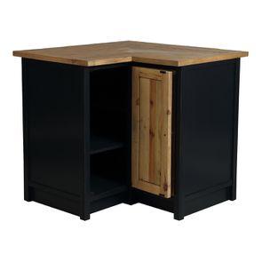Meuble de cuisine bas d'angle en bois recyclé bleu navy - Rivages - Visuel n°2