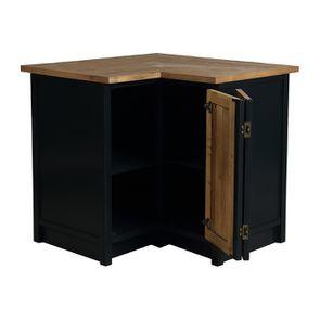 Meuble de cuisine bas d'angle en bois recyclé bleu navy - Rivages - Visuel n°3
