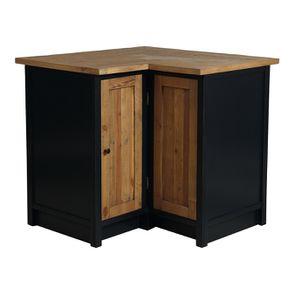 Meuble de cuisine bas d'angle en bois recyclé bleu navy - Rivages