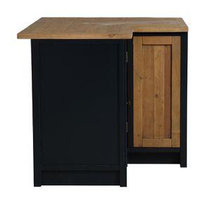 Meuble de cuisine bas d'angle en bois recyclé bleu navy - Rivages - Visuel n°4