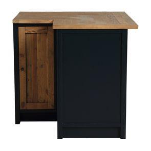 Meuble de cuisine bas d'angle en bois recyclé bleu navy - Rivages - Visuel n°5