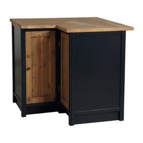 Meuble de cuisine bas d'angle en bois recyclé bleu navy - Rivages - Visuel n°8