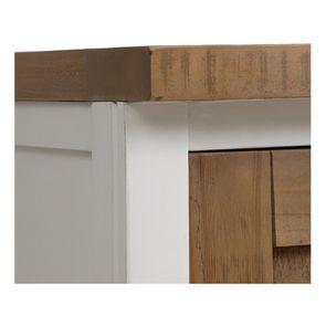 Meuble de cuisine haut 2 portes en bois recyclé blanc - Rivages - Visuel n°12