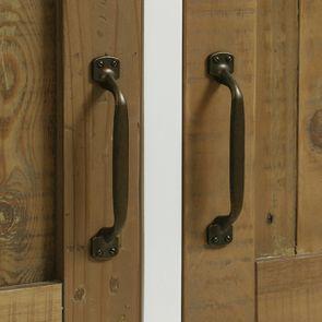 Meuble de cuisine haut 2 portes en bois recyclé blanc - Rivages - Visuel n°13