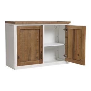 Meuble de cuisine haut 2 portes en bois recyclé blanc - Rivages - Visuel n°6