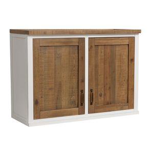 Meuble de cuisine haut 2 portes en bois recyclé blanc - Rivages - Visuel n°7