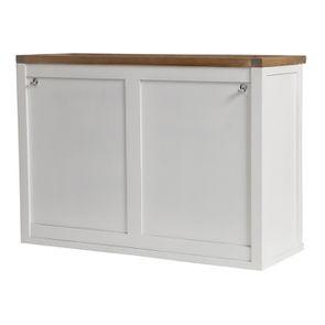Meuble de cuisine haut 2 portes en bois recyclé blanc - Rivages - Visuel n°9