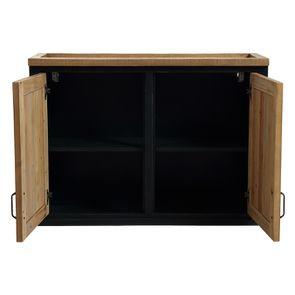 Meuble de cuisine haut 2 portes en bois recyclé bleu navy - Rivages - Visuel n°2