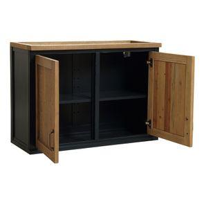 Meuble de cuisine haut 2 portes en bois recyclé bleu navy - Rivages - Visuel n°3