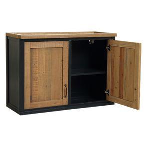 Meuble de cuisine haut 2 portes en bois recyclé bleu navy - Rivages - Visuel n°4