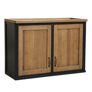 Meuble de cuisine haut 2 portes en bois recyclé bleu navy - Rivages - Visuel n°5