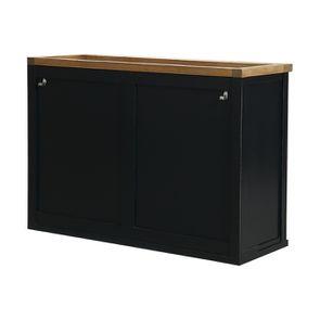 Meuble de cuisine haut 2 portes en bois recyclé bleu navy - Rivages - Visuel n°7