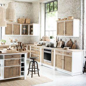 Meuble de cuisine haut d'angle 2 portes vitrées en bois recyclé blanc - Rivages - Visuel n°3
