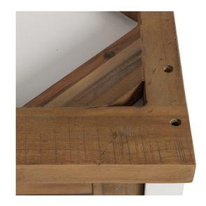 Meuble de cuisine haut d'angle 2 portes vitrées en bois recyclé blanc - Rivages - Visuel n°10
