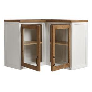 Meuble de cuisine haut d'angle 2 portes vitrées en bois recyclé blanc - Rivages - Visuel n°4