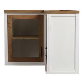 Meuble de cuisine haut d'angle 2 portes vitrées en bois recyclé blanc - Rivages - Visuel n°6