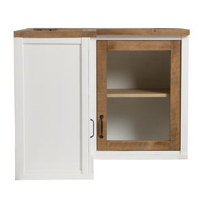 Meuble de cuisine haut d'angle 2 portes vitrées en bois recyclé blanc - Rivages - Visuel n°7