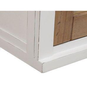 Meuble de cuisine haut 2 portes vitrées en bois recyclé blanc - Rivages