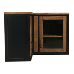 Meuble de cuisine haut d'angle 2 portes vitrées en bois recyclé bleu navy - Rivages