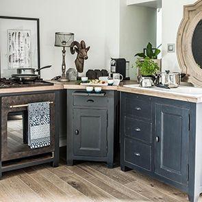 Meuble bas d'angle de cuisine en pin noir graphite - Brocante - Visuel n°2