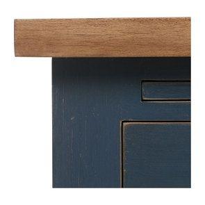 Buffet bas de cuisine 1 porte en pin bleu grisé vieilli - Brocante - Visuel n°8