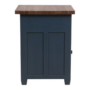 Buffet bas de cuisine 1 porte en pin bleu grisé vieilli - Brocante - Visuel n°6