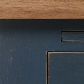Buffet bas de cuisine 2 portes en pin bleu grisé - Brocante - Visuel n°7
