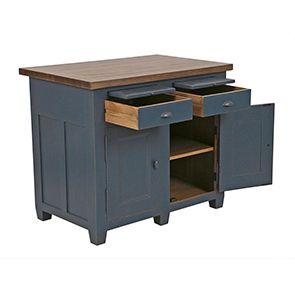 Buffet bas de cuisine 2 portes en pin bleu grisé - Brocante - Visuel n°5