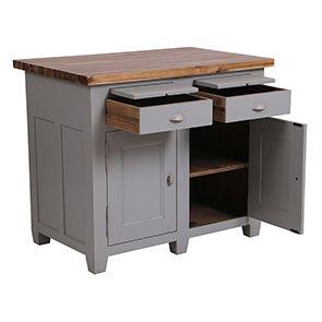 Buffet bas 2 portes 2 tiroirs en pin gris perle vieilli - Brocante - Visuel n°2