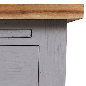 Buffet bas 2 portes 2 tiroirs en pin gris perle vieilli - Brocante - Visuel n°5