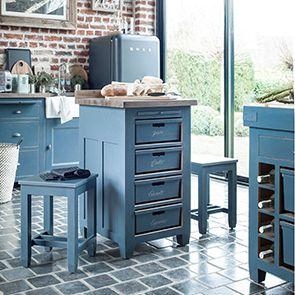 Meuble bas de cuisine 4 bacs en pin bleu grisé - Brocante